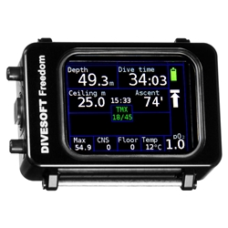 Divesoft Freedom is a compact Basic Nitrox to Full Trimix CCR dive computer with color OLED display.